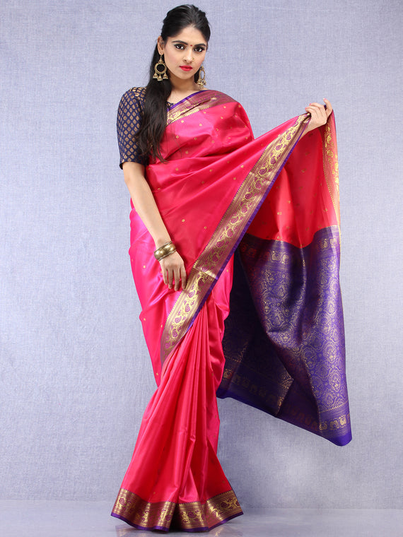 Banarasee Art Silk Self Weave Saree With Zari Work - Magenta Purple & Gold - S031704425