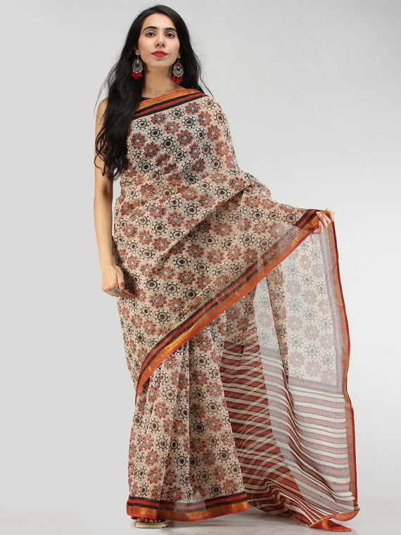 Beige Red Black Hand Block Printed Kota Doria Saree With Zari Border - S031704575
