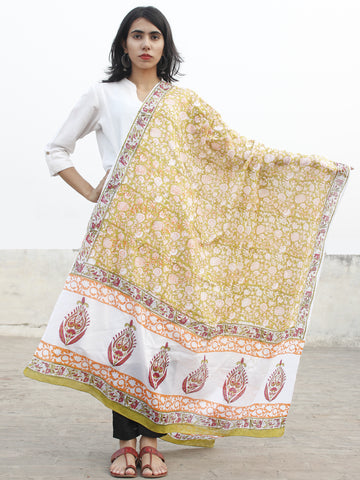 White Olive Green Multi Color Cotton Hand Block Printed Dupatta - D04170188