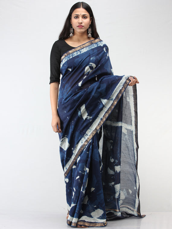 Indigo Ivory Hand Block Printed Maheshwari Silk Saree With Zari Border - S031704475