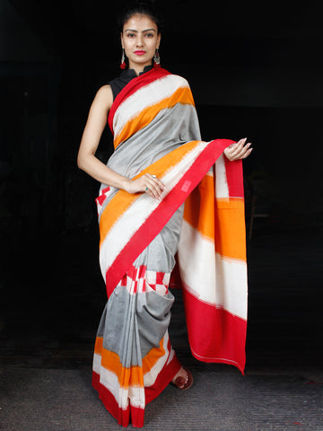 Grey Red White Orange Ikat Handwoven Mercerised Cotton Saree - S031703630