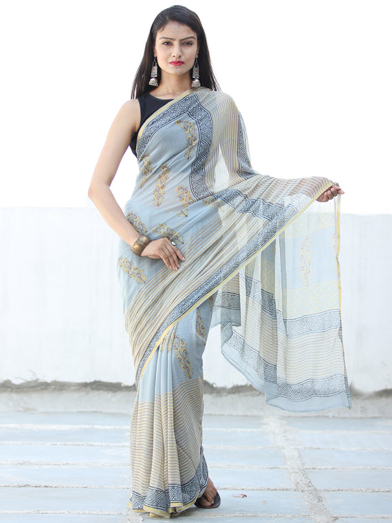 Pastel Blue Ivory Hand Block Printed Chiffon Saree with Zari Border - S031703932