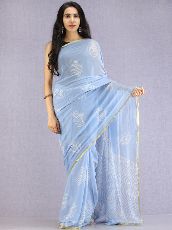Baby Blue OffWhite Hand Block Printed Chiffon Saree with Zari Border - S031704604