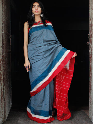 Teal Blue White Red Double Ikat Handwoven Cotton Saree - S031703532