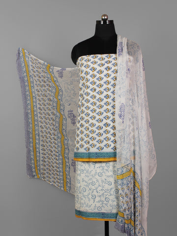 Ivory Blue Orange Hand Block Printed Cotton Suit-Salwar Fabric With Chiffon Dupatta (Set of 3) - S16281299