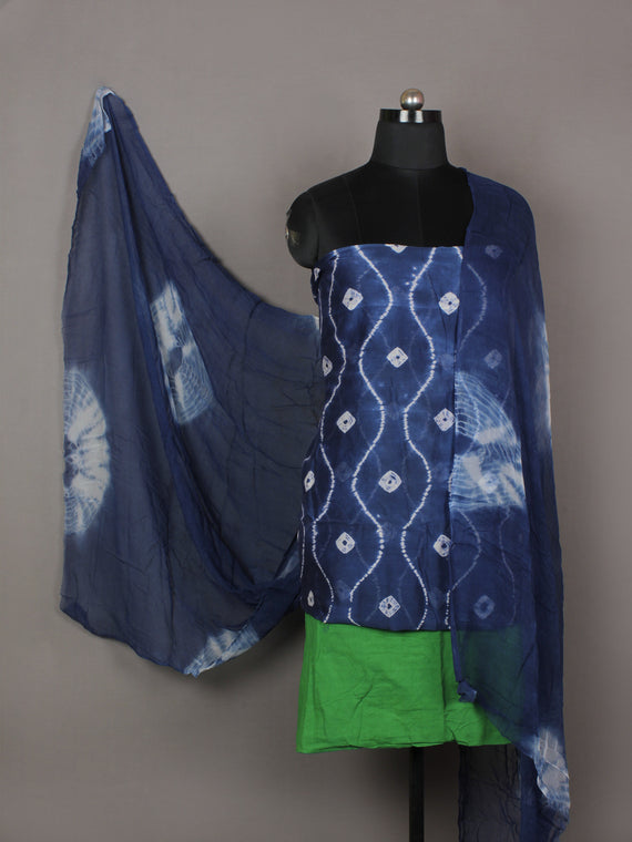 Indigo Ivory Green Hand Shibori Dyed Chanderi Kurta & Chiffon Dupatta With Cotton Salwar Fabric Set of 3- S1628210