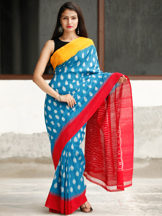 Sky Blue Yellow Red Ikat Handwoven Cotton Saree - S031704047