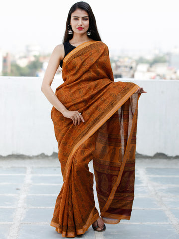 Deep Orange Rust Black Bagh Hand Block Printed Maheswari Silk Saree With Resham Border - S031703846