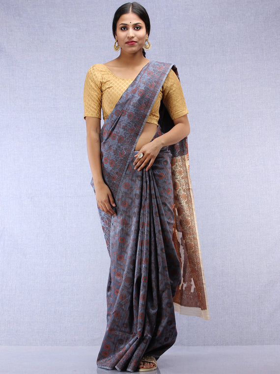 Banarasee Art Silk Saree With Rehsam Weaving Work - Grey & Beige - S031704426