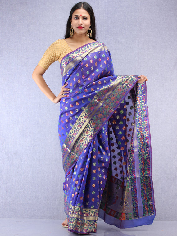 Banarasee Chanderi Saree With Meenakari Work - Electric Blue & Gold - S031704422