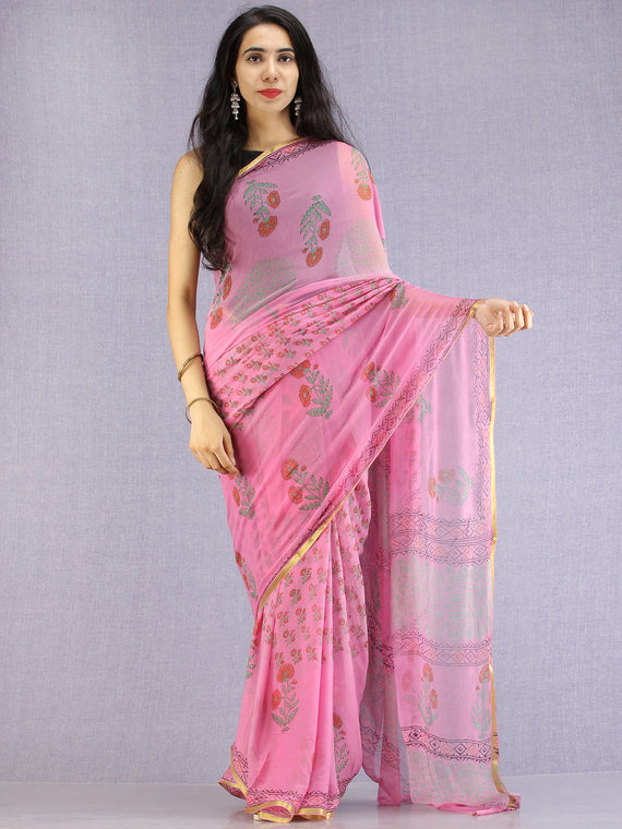 Pink Red Green Hand Block Printed Chiffon Saree with Zari Border - S031704605