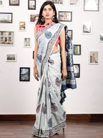 Ivory Indigo Rust Hand Block Printed Cotton Mul Saree in Natural Colors - S031703177