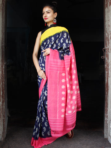 Indigo Pink Yellow Grey Ikat Handwoven Ganga Jamuna Border Cotton Saree - S031703631