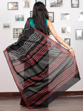 Black Crimson Red Grey Hand Block Printed Cotton Mul Saree   - S031703038
