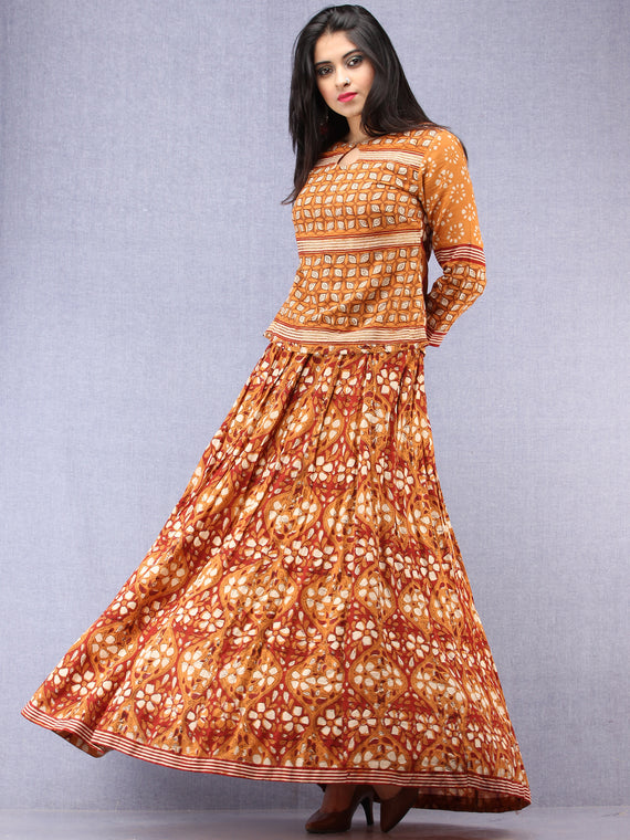 Naaz Futun - Hand Block Printed Long Top & Skirt Dress - DS93F001