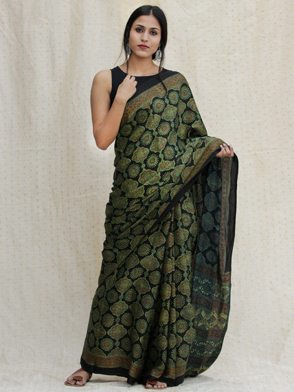 Black Green Red Ajrakh Hand Block Printed Modal Silk Saree - S031704137