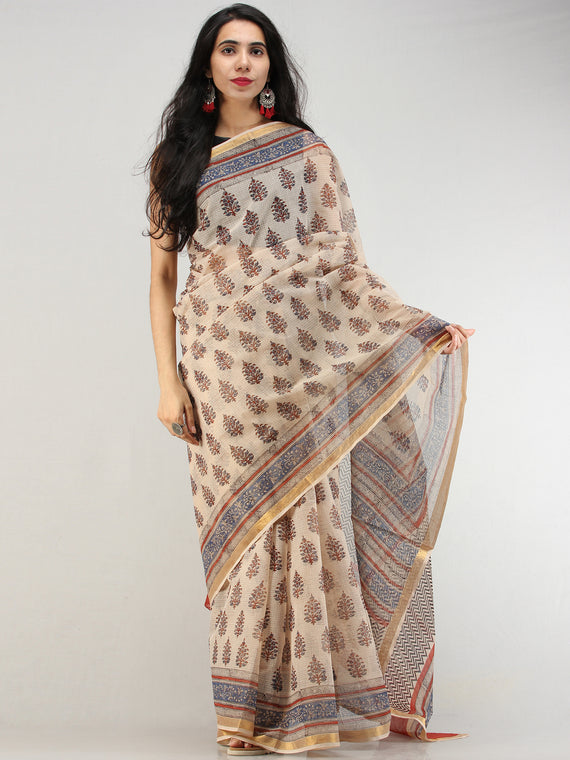 Beige Indigo Red Hand Block Printed Kota Doria Saree With Zari Border - S031704576