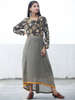 Khaki Garden - Hand Block Asymmetrical Embroidered Dress - D216F1343
