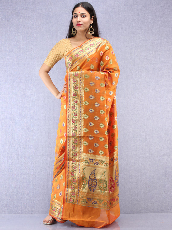 Banarasee Chanderi Saree With Meenakari Work - Orange & Gold - S031704423
