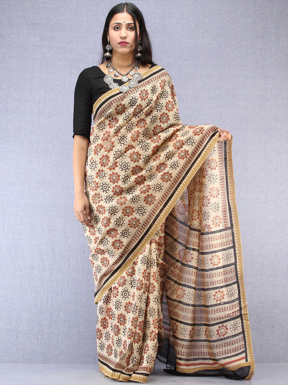 Ivory Red Black Hand Block Printed Chanderi Saree With Geecha Border - S031704502
