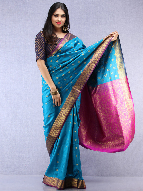 Banarasee Art Silk Self Weave Saree With Zari Work - Blue Pink & Gold - S031704427