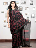 Black Crimson Red Grey Hand Block Printed Cotton Mul Saree   - S031703037