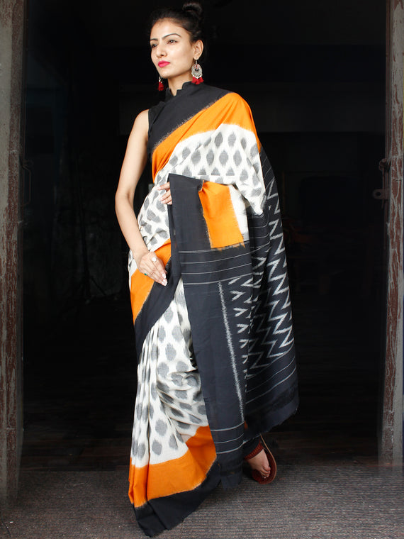Black Orange Grey White Ikat Handwoven Mercerised Cotton Saree - S031703632