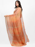 Peach Yellow Hand Block Printed Chiffon Saree with Zari Border - S031703255