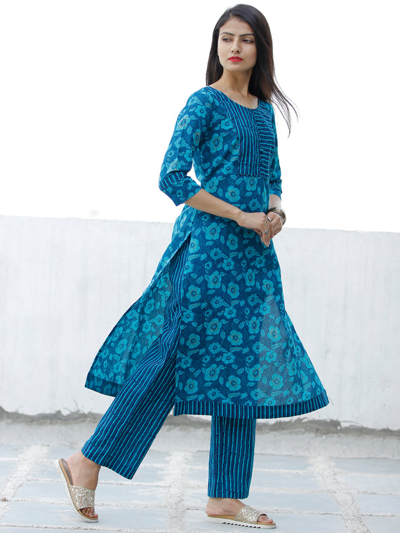 Blue Sky Blue Cotton Block Printed Kurta & Pants - Set of 2 - SS01F1940