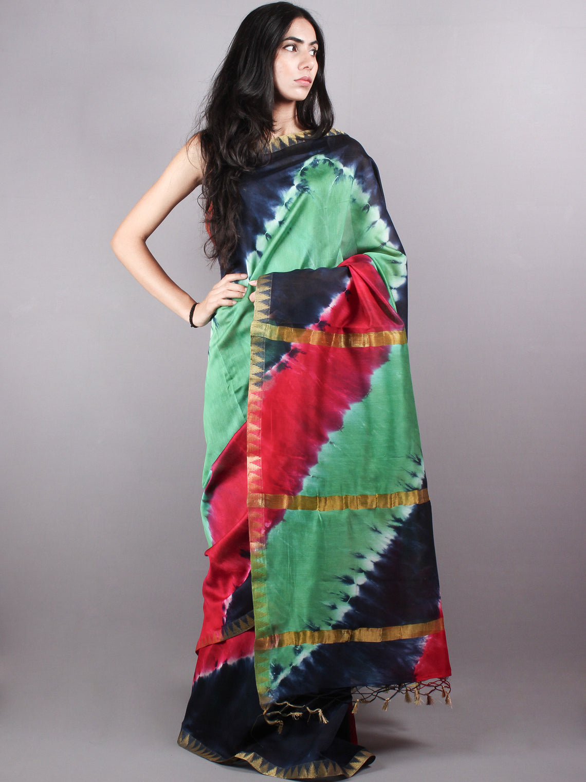 Multi Color Mint Green Marvel Hand Shibori Dyed in Natural Colors Chanderi Saree with Geecha Border - S03170136