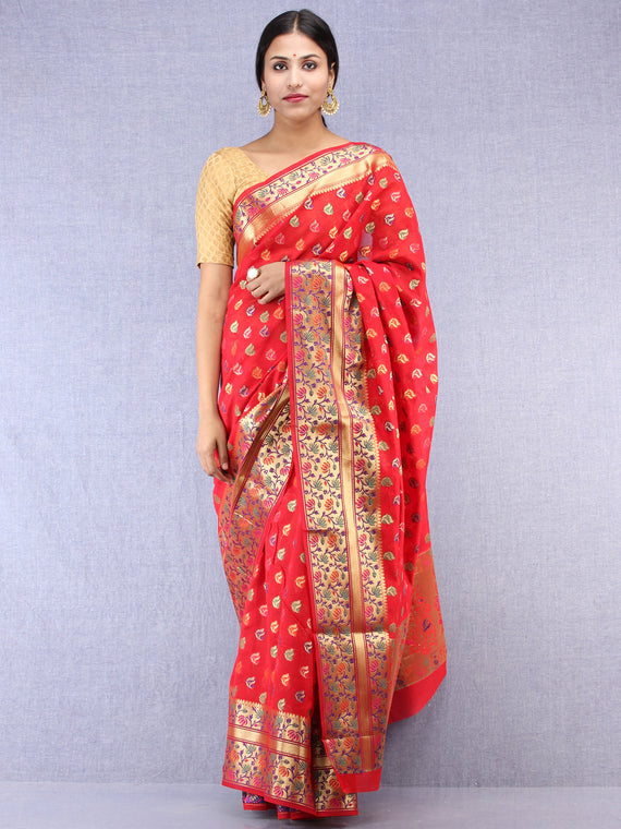 Banarasee Chanderi Silk Saree With Meenakari Work - Red & Gold - S031704428