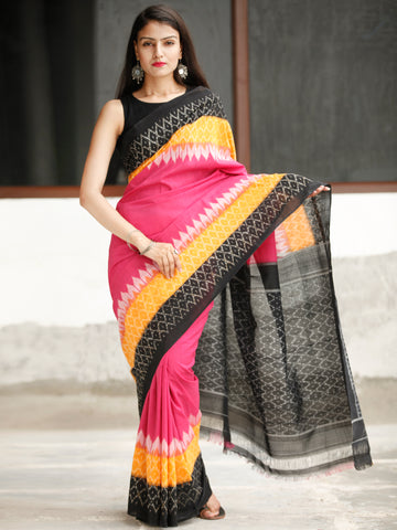 Pink Black Yellow Ikat Handwoven Cotton Saree - S031704050