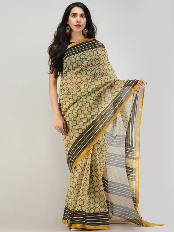 Green Beige Black Hand Block Printed Kota Doria Saree With Zari Border - S031704572