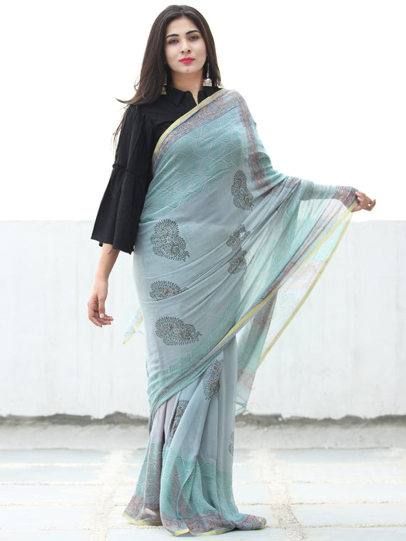 Pastel Blue Green Hand Block Printed Chiffon Saree with Zari Border - S031703949