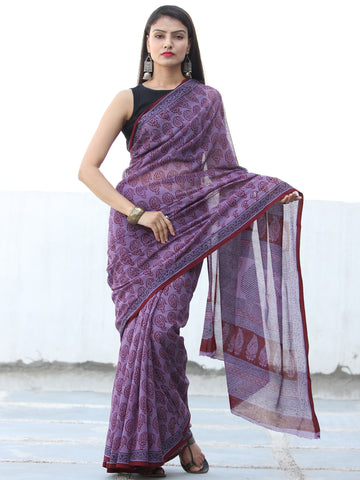 Purple Red Black Bagh Hand Block Printed Kota Doria Saree - S031703895