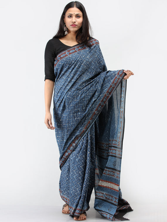 Indigo Red Black Hand Block Printed Cotton Mul Saree - S031704512