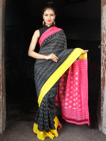 Black Pink Yellow Grey Ikat Handwoven Ganga Jamuna Border Cotton Saree - S031703633