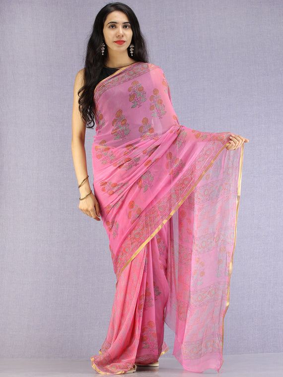 Pink Red Green Hand Block Printed Chiffon Saree with Zari Border - S031704607
