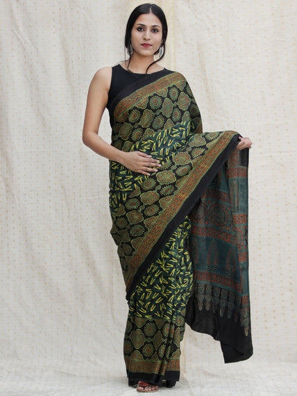 Black Green Red Ajrakh Hand Block Printed Modal Silk Saree - S031704136