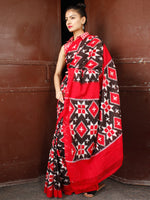 Black Red White Telia Rumal Double Ikat Handwoven Pochampally Mercerized Cotton Saree - S031703660