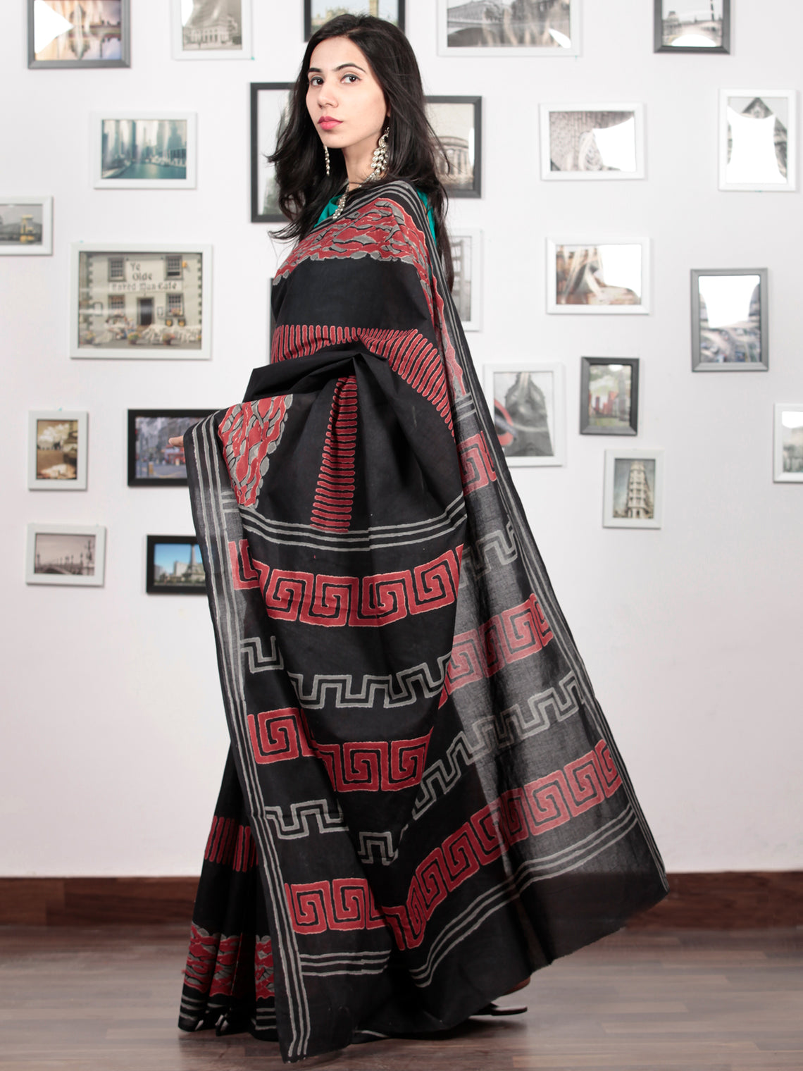 Black Crimson Red Grey Hand Block Printed Cotton Mul Saree   - S031703040