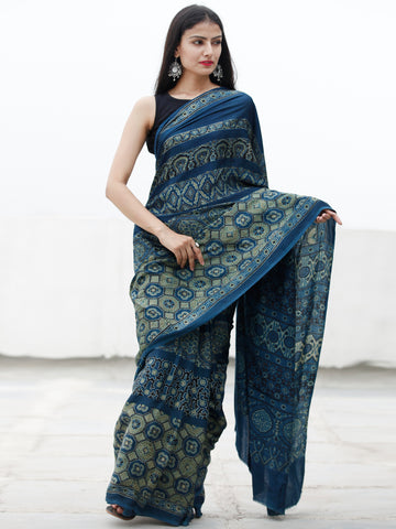 Indigo Fern Green Black Ajrakh Hand Block Printed Modal Silk Saree in Natural Colors - S031703718