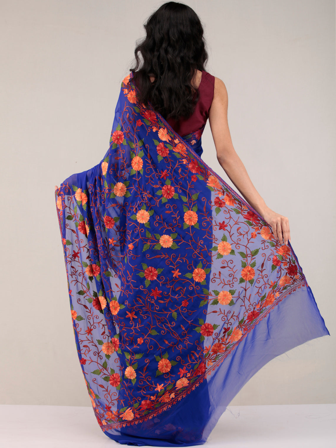 Blue Aari Embroidered Georgette Saree From Kashmir - S031704647