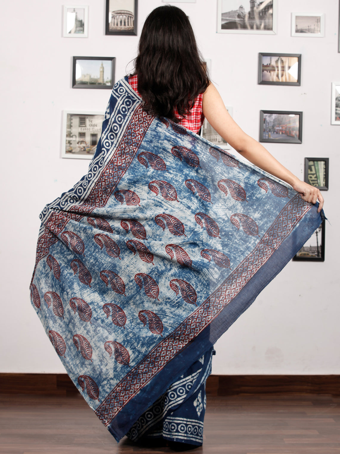 Indigo White Maroon Hand Block Printed Cotton Mul Saree in Natural Colors - S031703178