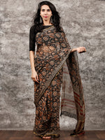 Black Beige Rust Hand Block Printed Chiffon Saree with Zari Border - S031703498