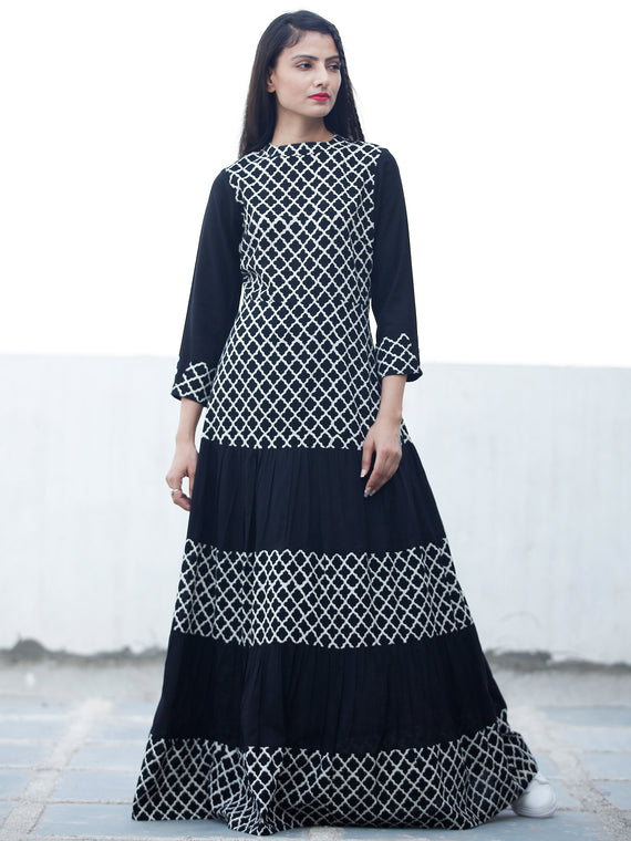 DARK BRIGHT - Hand Block Printed Cotton Long Dress  - D335F1741