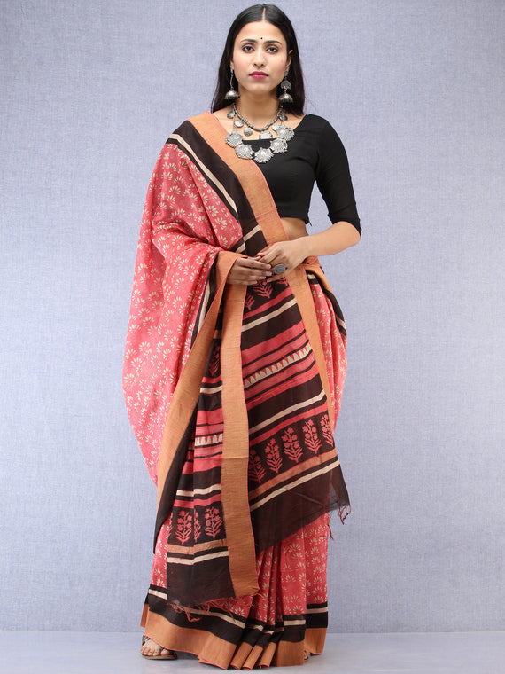 Pastel Pink Ivory Black Hand Block Printed Chanderi Saree With Geecha Border - S031704526