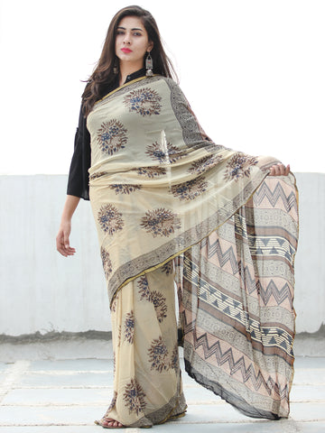 Beige Indigo Brown Hand Block Printed Chiffon Saree with Zari Border - S031703950