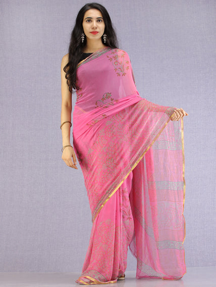 Pink Red Green Hand Block Printed Chiffon Saree with Zari Border - S031704620