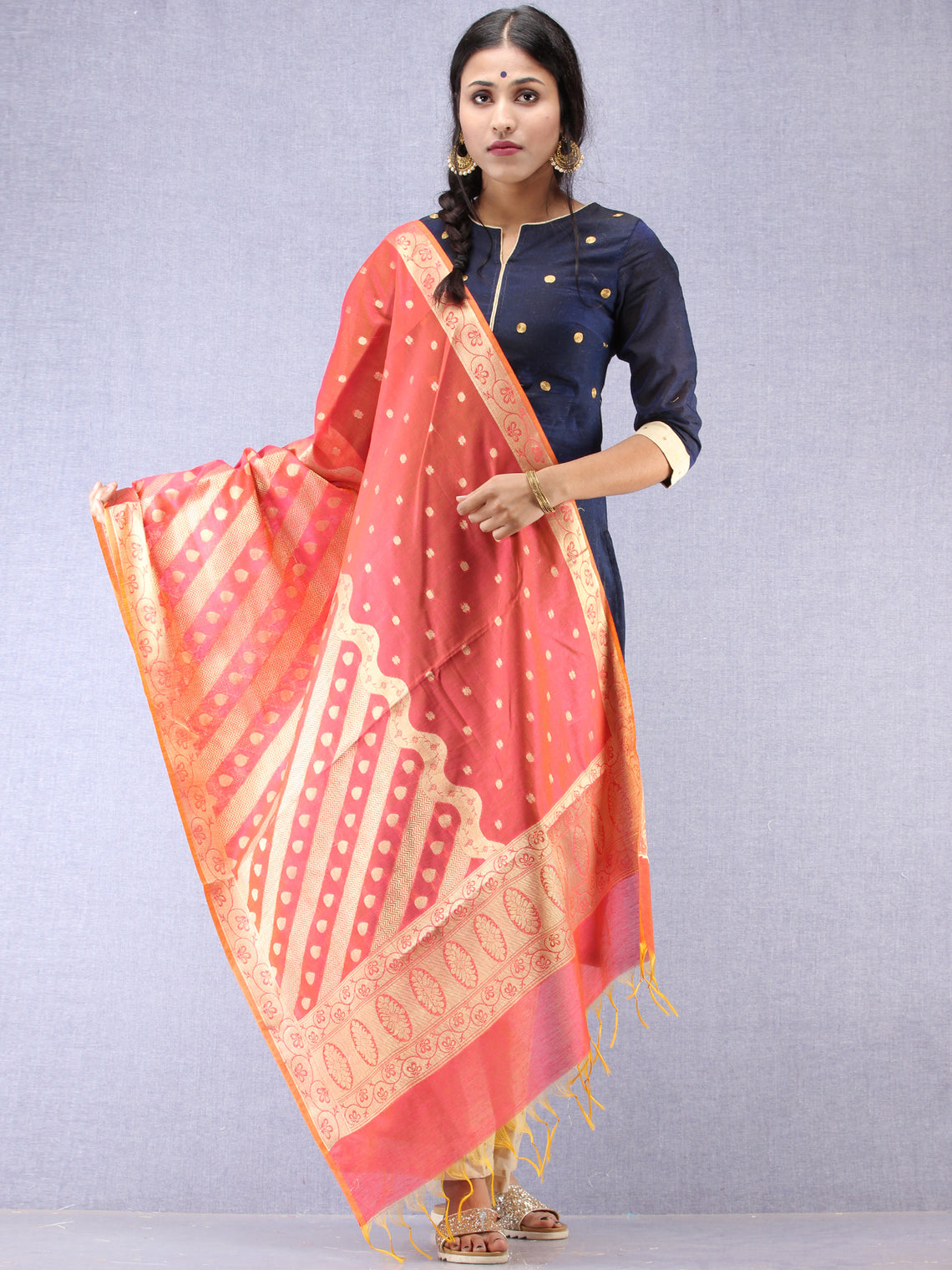 Banarasi Chanderi Dupatta With Zari Work - Red & Gold - D04170816